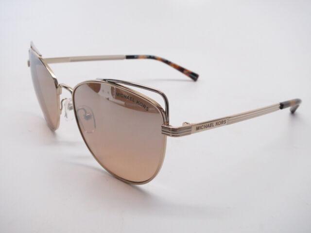 6138862e94db9b Michael Kors MK 1035 ST Lucia 12128Z Light Gold w Silver Khaki Flash  Sunglasses