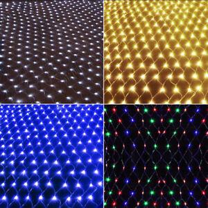 US-4-9ft-4-9ft-96-LED-String-Fairy-Light-Net-Mesh-Curtain-Xmas-Wedding-Party-NEW