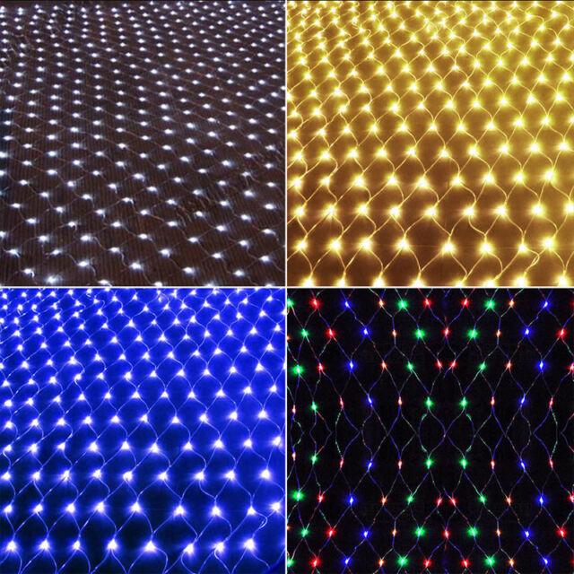 US 4.9ft*4.9ft 96 LED String Fairy Light Net Mesh Curtain Xmas Wedding Party NEW