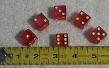 """Set of 6 - 5/8"""" / 16mm small red acrylic dice rounded corner bar board game toy"""