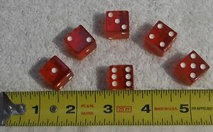 "Set of 6 - 5/8"" / 16mm small red acrylic dice rounded corner bar board game toy"