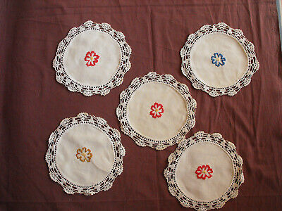 #1498 Beautiful Vintage Embroidered 5 Linen Doilies 20cm(8'')