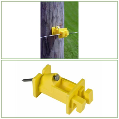 NAIL WOOD POST INSULATOR Yellow Slant Nail Electric Fencing 9-22 Gauge 25-Count
