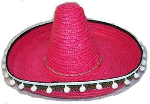 a110ae48 PINK COLOR LARGE MEXICAN SOMBRERO STRAW HAT WITH TASSELS mexico ...