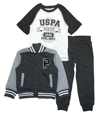 US Polo Assn Boys Blue Fleece Jacket 3pc Jogger Set Size 2T 3T 4T 4 5//6 7