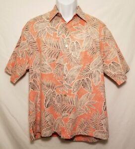 Tori-Richard-Mens-Large-Coral-Floral-Button-Short-Sleeve-Hawaiian-Camp-Shirt-EUC