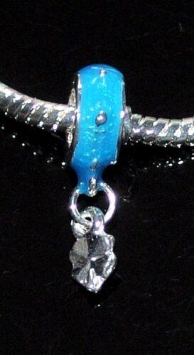 5 x blue alloy enamel dangle beads fit European style snake charm chain 5mm hole