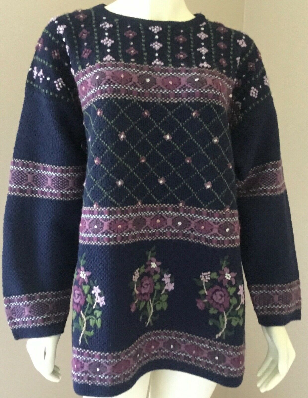 Vintage Laura Ashley 90s Floral 100% Wool Embroid… - image 1