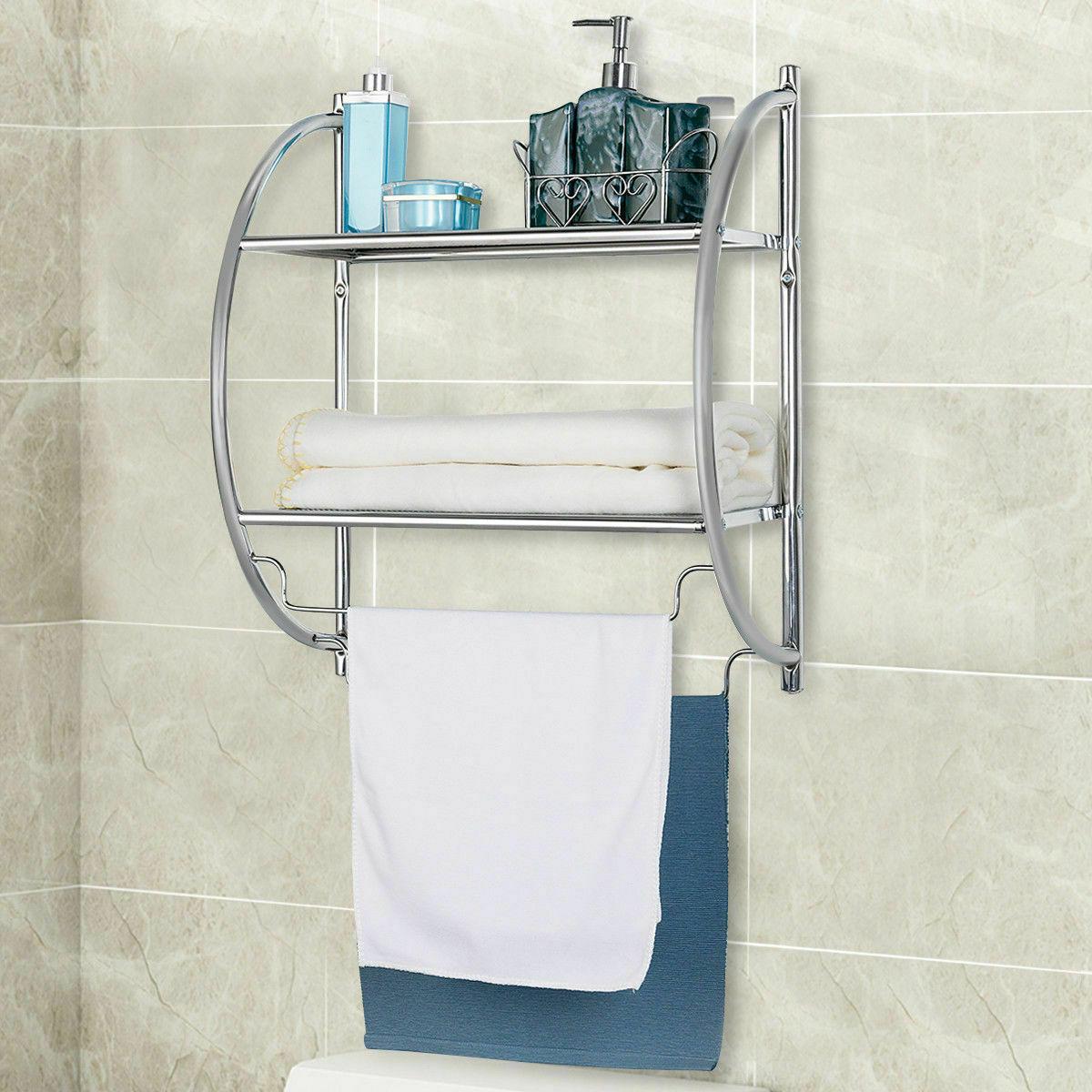 2 Tier Wall Mount Shower Organizer Holder Storage Rack Towel Bar Toilet Bathroom For Sale Online
