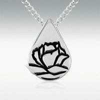 Memorial Tear Rose Teardrop Sterling Silver Pendant Necklace On 18 S.s. Chain