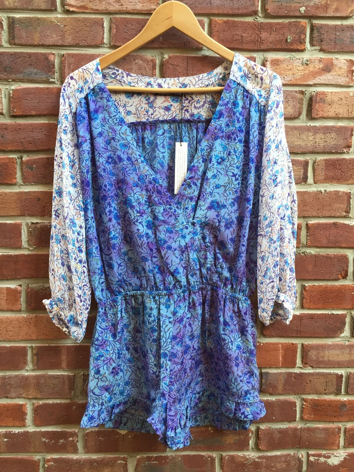 210 Gypsy 05 bluee Purple Floral Silk Romper Jumpsuit Ruffle M Medium RARE