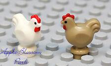 Lego Minifig Lot/2 Tan White Chicken -dark Castle Farm Bird Chick Hen Animal