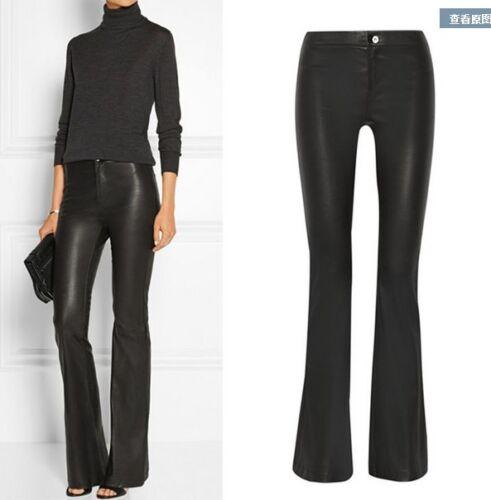 Womens PU Leather long Big bell-bottom Trousers Pants High-waist Fit Motorbiker