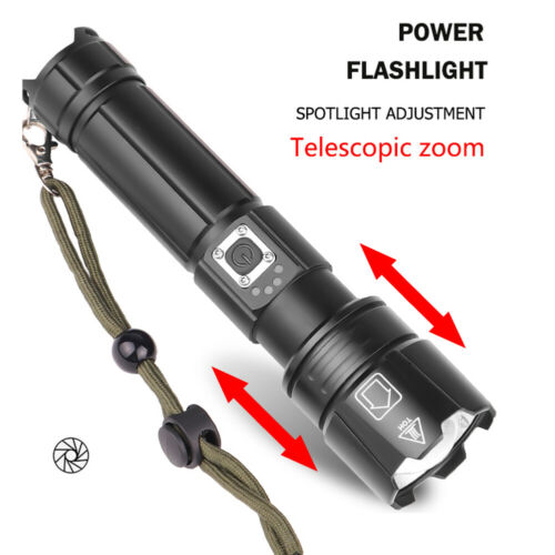 LED Flashlight Torch UK Ultra Bright Powerful Zoom USB Rechargeable XHP90 XHP70