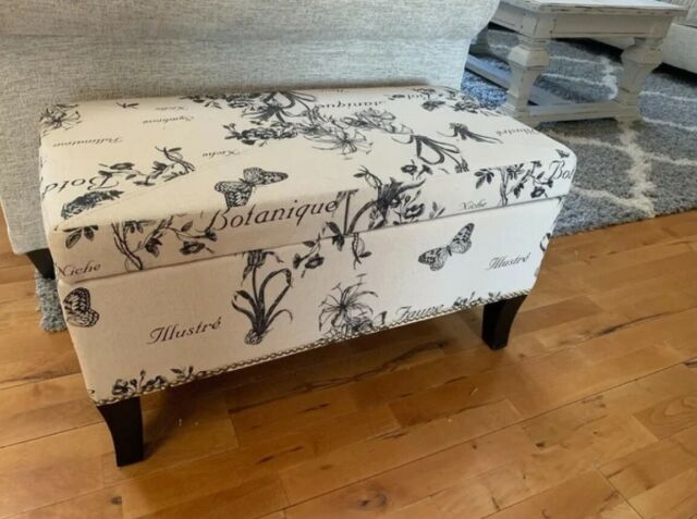 Storage Ottoman Bench Beige Floral Modern Fabric Accent Black Rectangle  Bedroom