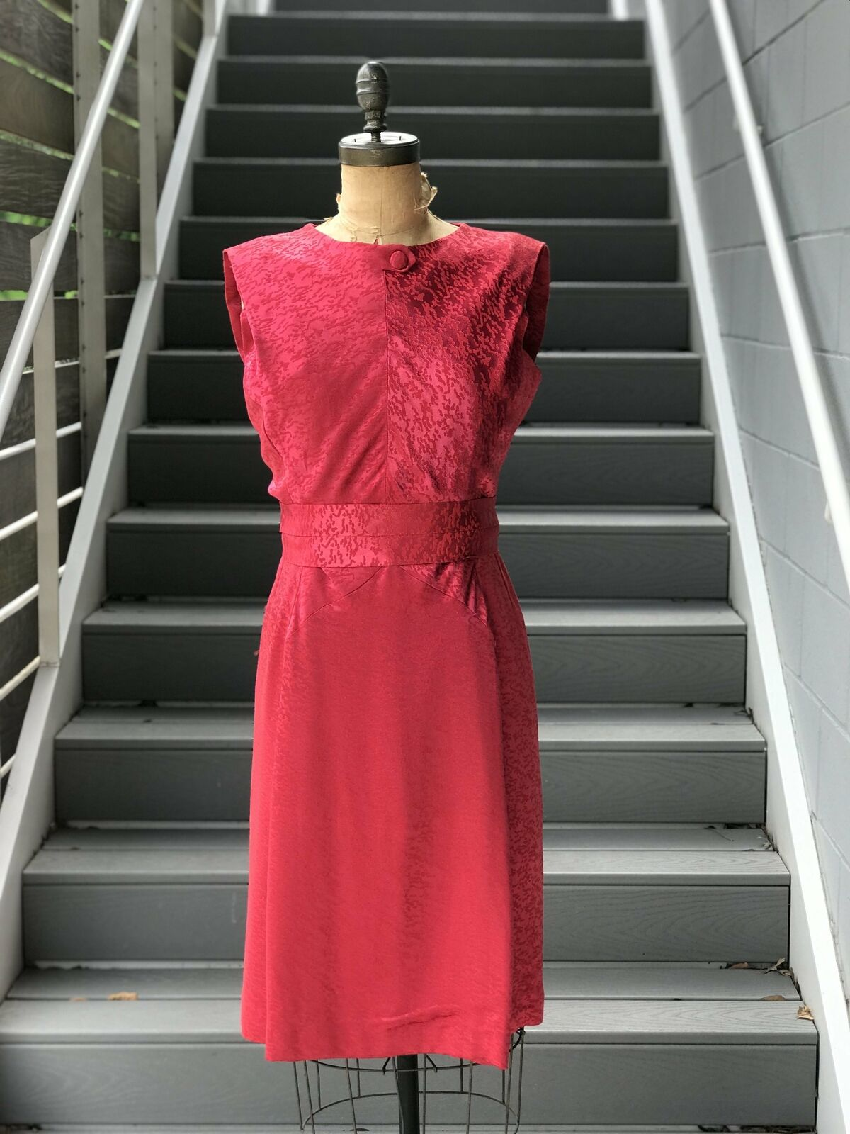 1950s Rasberry Jacquard Formal Dress + Belt - image 2