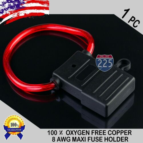 1 Piece 8 Gauge APX MAXI Inline Blade Fuse Holder 100/% OFC Copper Wire 32V DC