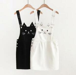dc2073ee6e Women s Cute Embroidery Cat Students Short Denim Dress Overall ...