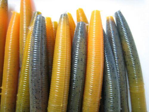 "Soft Plastic Bass Worms SALT SCENT CRAWDAD ORANGE SWIRL 60 pk 4/"" Senko Style"