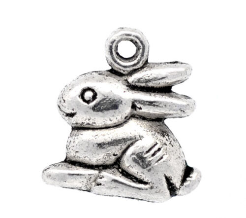 50 Newest Silver Tone Rabbit //Bunny Charm Pendants 15x12mm