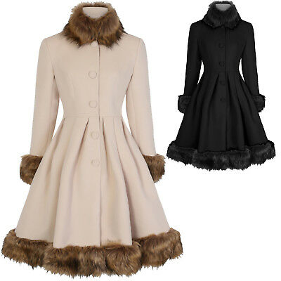 Ernst Hearts And Roses London Elsie Faux Fur Statement Vintage 1950s Retro Coat Um Zu Helfen, Fettiges Essen Zu Verdauen