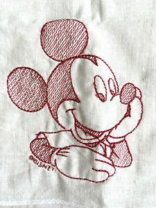 New-Disney-MICKEY-MOUSE-Red-Embroidery-on-White-Handkerchief-Cotton-15-x-15-EXCL