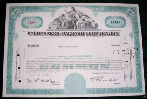 ORIGINAL 1960/'S STUDEBAKER-PACKARD STOCK CERTIFICATE
