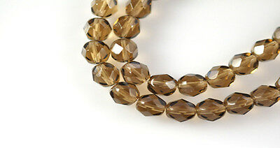 50 Smoky Topaz Faceted Round Czech Glass Beads 6MM
