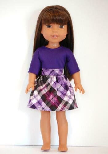"SKIRT /& Top for 14.5/"" Wellie Wishers Glitter Girls Doll Clothes by TKCT purple"