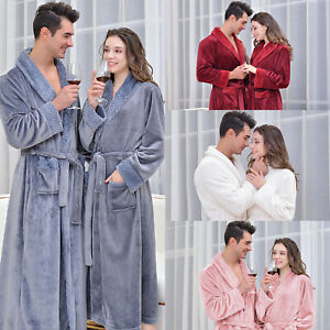 Luxury Ladies Soft Long Collar Hooded Fleece Bath Robe Dressing Gown House Coat