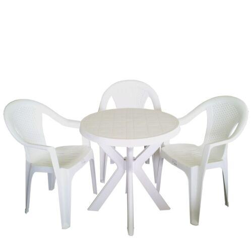 Bistrotisch Ø70x72cm Gartentisch Campingtisch Beistelltisch Kunststoff Weiß