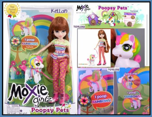 Moxie Girlz Poopsy Pets Doll KELLAN /& Fantasy Pet UNICORN Eats /& Poops RAINBOWS