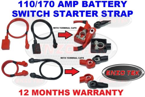 110 170 AMP HEAVY DUTY CABLE LIVE EARTH STRAP BATTERY LEAD WITH CAPS CAR VAN