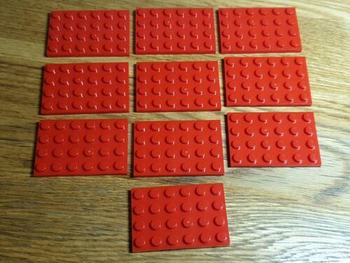 10 x RED LEGO BASE PLATE BOARD BRICK 4x6 PIN  ID 3032  CITY-STAR WARS-FRIENDS