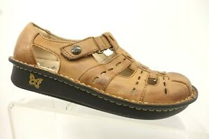 Alegria-Brown-Leather-Adjustable-Strap-Casual-Sandals-Shoes-Women-039-s-36-6-6-5