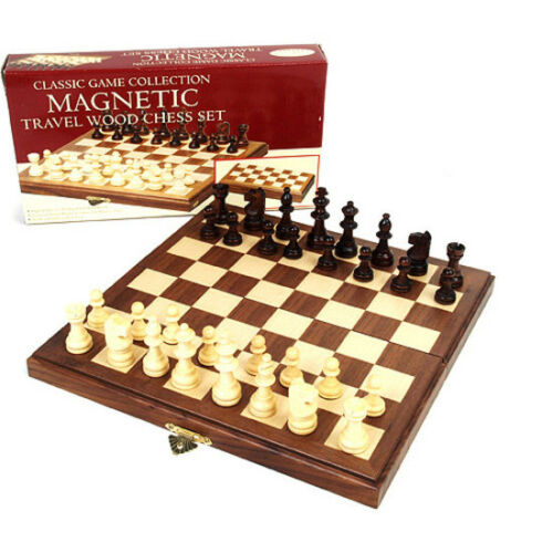 """Classic Games 11/"""" Inlaid Walnut Wood Magnetic Chess Portable Folding Case New"""