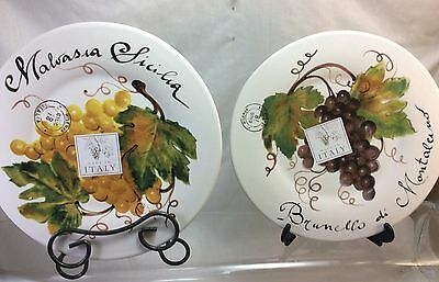Ceramisa Grape Types Decorative Plates Ceramic. Made in Italy. New.Set of 2.
