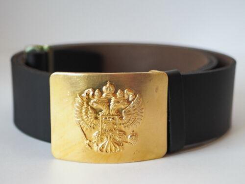 Original Russian Soldier Leather Black Belt Soldier w// Badge Round heads