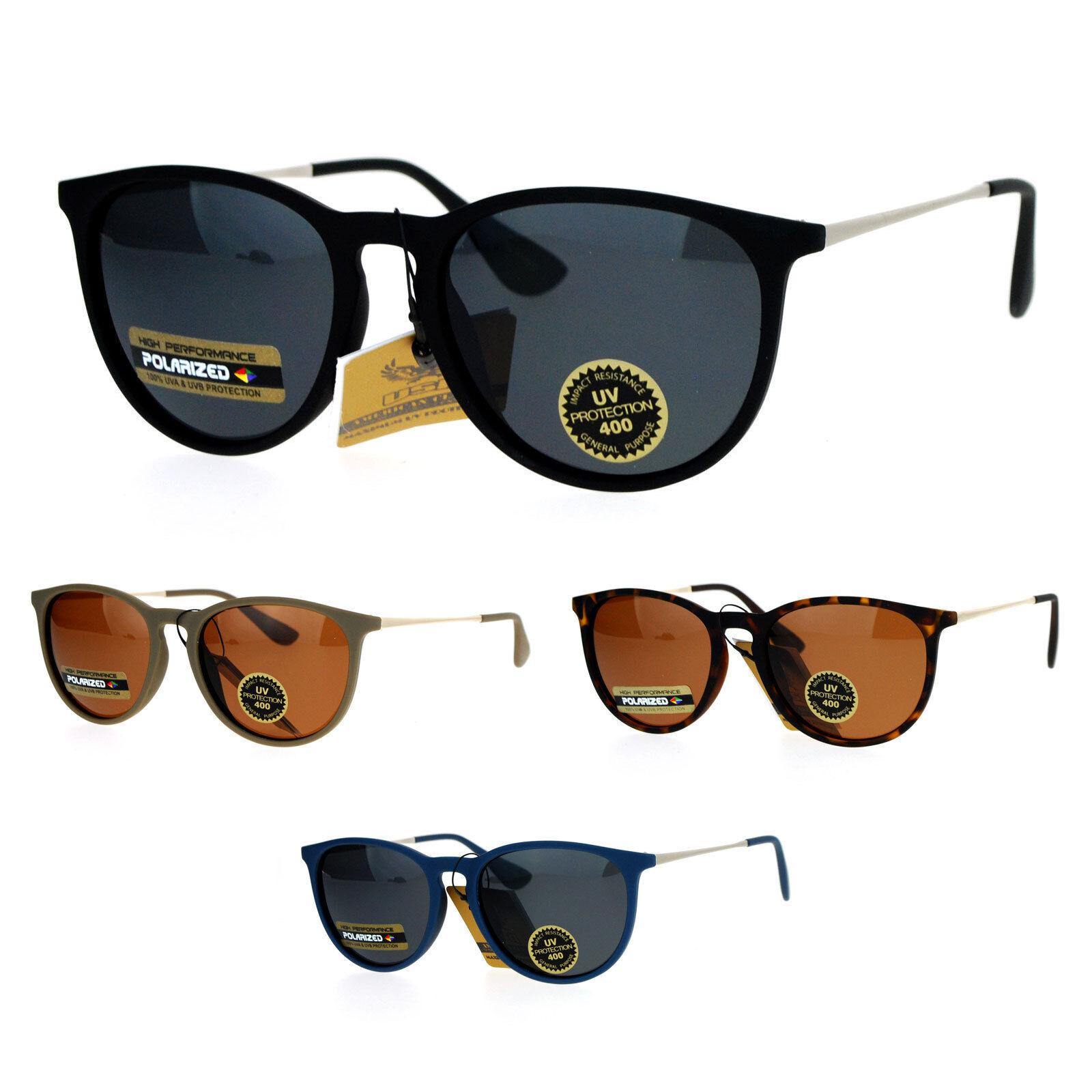 SA106 Polarized Lens Rubberized Matte Horn Rim Retro Sunglasses