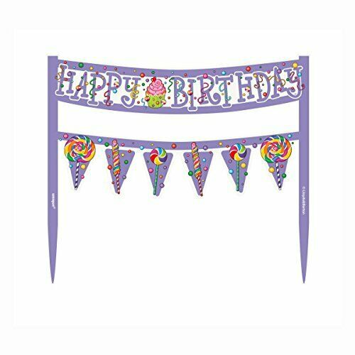 Pretty Candy Party Happy Birthday Cake Topper Banner Decoration New /& Sealed