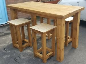 Details About Solid Wood Rustic Chunky Plank High Table And Stool Set Breakfast Bar Style