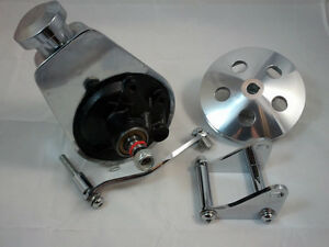 SB-Chevy-SBC-Chrome-Saginaw-Power-Steering-Pump-Kit-W-Bracket-Pump-amp-Pulley