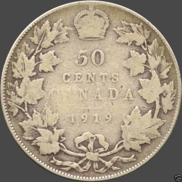 1919 Canada Silver 50 Cent Piece (11.66 grams .925 Silver)