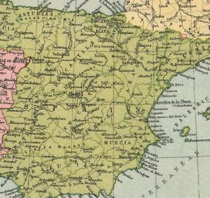 Murcia Map Of Spain.Details About 1934 Map Spain Portugal Murcia Old Castile Galicia