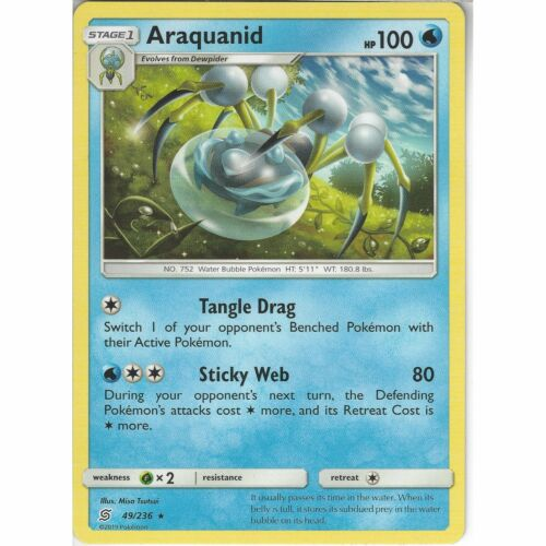 49//236 AraquanidRare CardPokemon Trading Card Game Unified Minds TCG SM-11