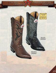 5e297a0ad90 Details about Los Altos Men's J-Toe Caiman Belly Print Pull Up Cowboy  Western Boots