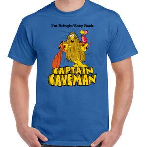 CAPITAN-Cavernicolo-Da-Uomo-Retro-ANIMATA-ANNI-039-80-Telefilm-T-shirt-girocollo