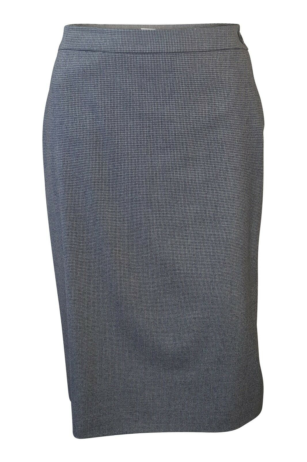HERMES DOGSTOOTH GREY 100% WOOL SILK LINED A LINE SKIRT (44)
