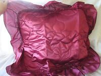 Vintage satin & Bows Burgundy Std/q Pillow Shams & Pouf Valances 4 Pcs