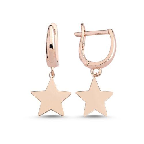 Estrellas klappcreolen 925 real plata chica señora niños aretes ohrhänger